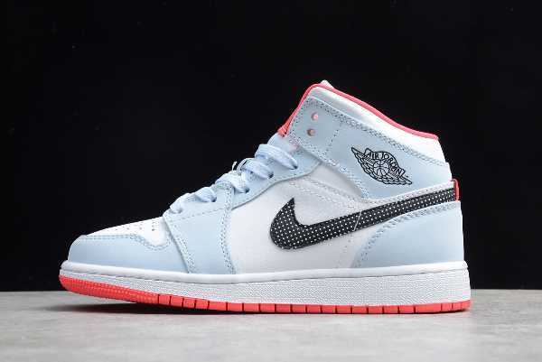 555112-400 Air Jordan 1 Mid Half Blue Polka Dot Swoosh Men' s and Women' s Size For Sale