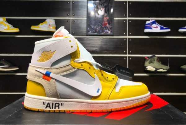 All New Off-White x Air Jordan 1 NRG White/Yellow AQ0818-149 For Sale
