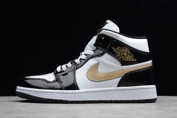 Air Jordan 1 Mid Patent Leather Black and Gold 852542-007