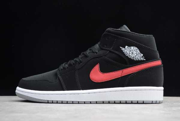 554725-065 Mens and WMNS Air Jordan 1 Mid Black University Red For Sale