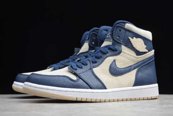 AQ9131-401 Mens and WMNS Air Jordan 1 Mid Midnight Navy Light Cream For Sale