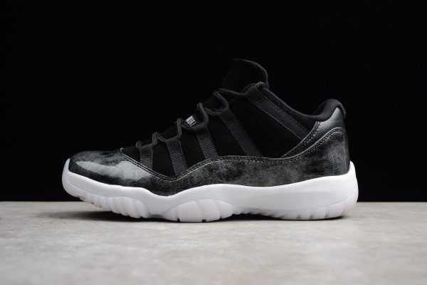 "New Air Jordan 11 Retro Low ""Barons"" Black/Metallic Silver-White 528895-010"