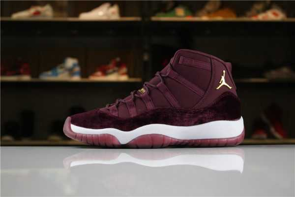 "Air Jordan 11 Heiress ""Red Velvet"" Night Maroon/Metallic Gold 852625-650 For Sale"