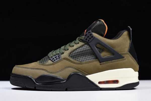 Mens Air Jordan 4 Retro ' ndefeated' Olive Green/Black-Orange