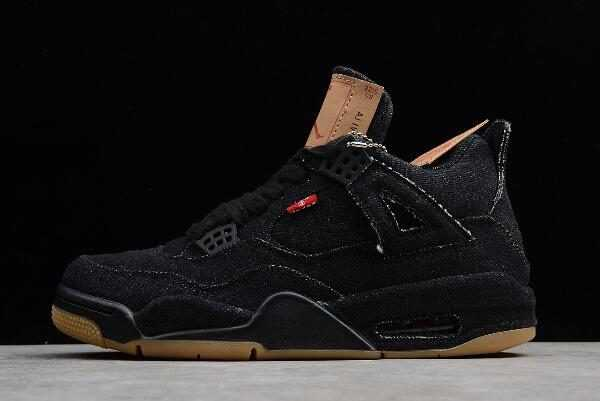 Men' s Levi' x Air Jordan 4 ' enim' Black/Gum On Sale