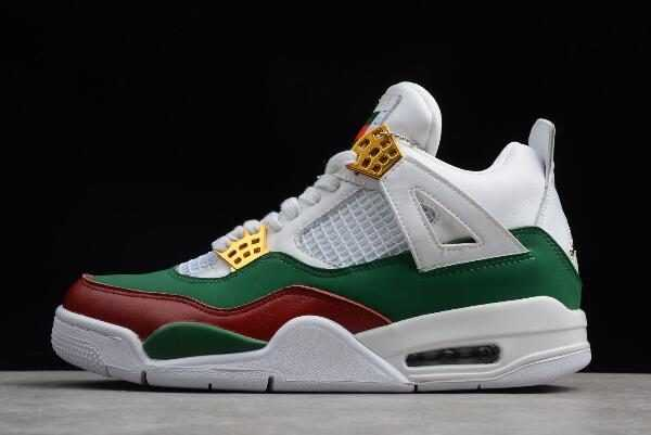 2018 New Air Jordan 4 ' G' White/Green-Red-Gold For Sale