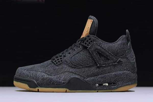 2018 Levi' x Air Jordan 4 ' lack Denim' AO2571-001 Shoes
